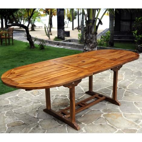 Table de jardin en teck pour 10 personnes - table ovale - 34