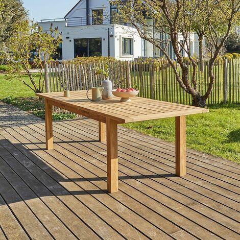 Table de jardin en teck recyclé extensible 8/10 personnes - Naturel