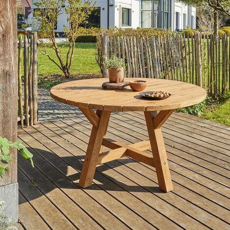 Table de jardin en teck recyclé ronde 6 personnes - Naturel