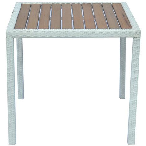 Table de jardin en tressage Wicker coloris blanc brossé avec plateau  imitation bois - Dim : H 74 x L 80 P 80 cm