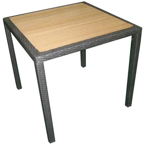 Table de jardin en tressage Wicker coloris wengé avec plateau imitation  bois - Dim : H 74 x L 80 P 80 cm