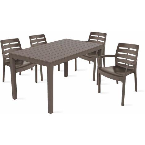 Table de jardin et 4 fauteuils en plastique Taupe - 104219