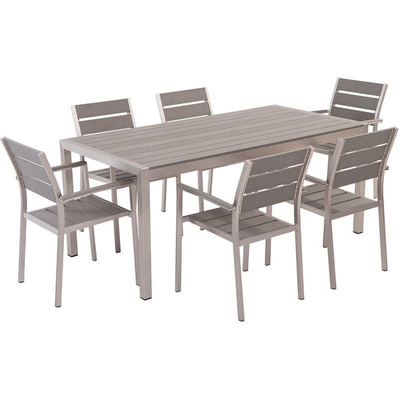 Table de jardin et 6 chaises aluminium plateau en plastique gris 180 cm  VERNIO