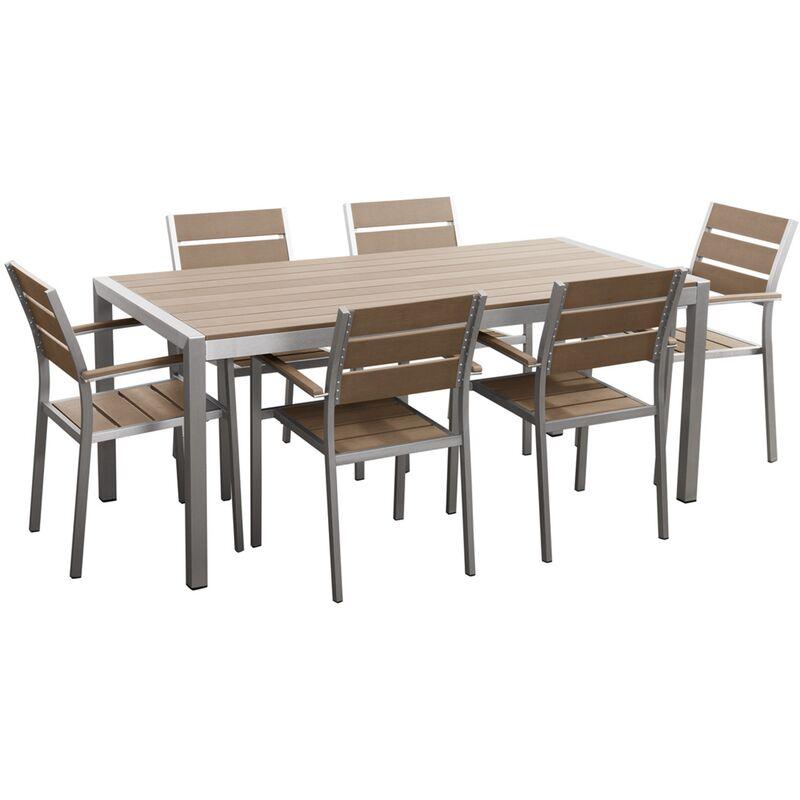 Table De Jardin Et 6 Chaises Aluminium Plateau En Plastique Marron 180 Cm Vernio