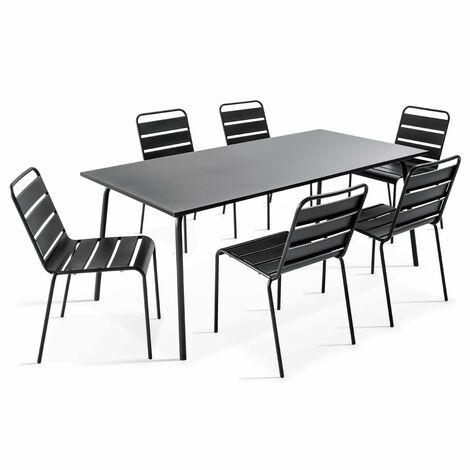 Table de jardin et 6 chaises en métal Palavas - Gris - 105016
