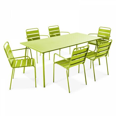 Table de jardin et 6 fauteuils en acier