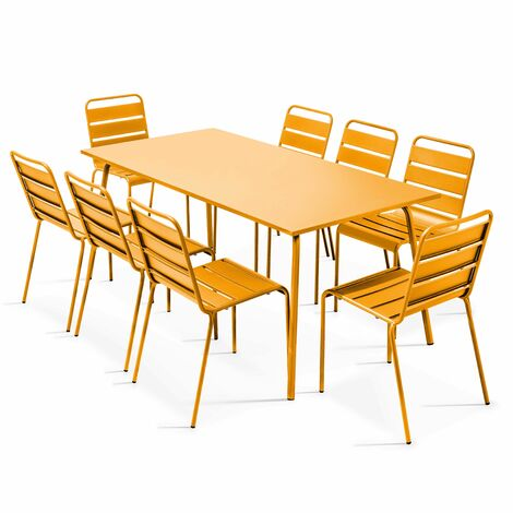 Table de jardin et 8 chaises en métal