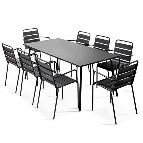 Table de jardin et 8 fauteuils en métal - Gris - 101852