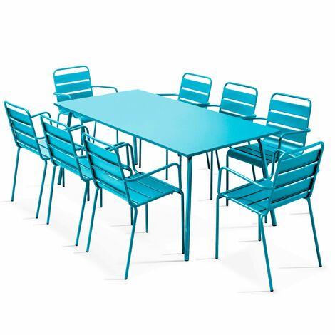 Table de jardin et 8 fauteuils en métal - Bleu - 103637