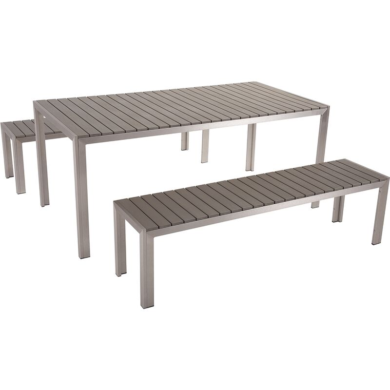 Table De Jardin Composite.Table De Jardin Et Bancs En Bois Composite Gris 180 Cm Nardo