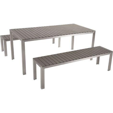 Table de jardin et bancs en bois composite gris 180 cm NARDO - 10592