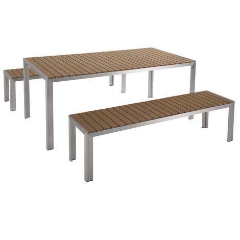 Table de jardin et deux bancs avec plateau en plastique ...