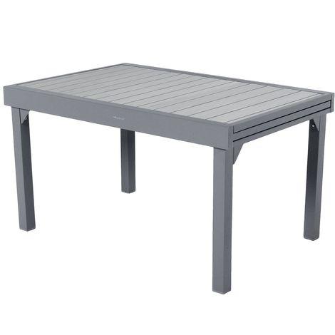 Table de jardin extensible 10 Personnes effet bois Piazza - L. 135/270 cm - Gris graphite - Gris