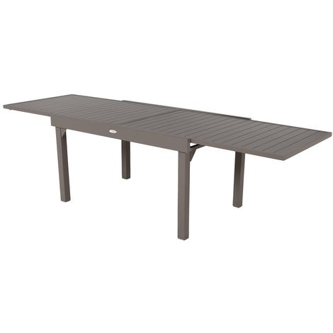 Table de jardin extensible 10 Personnes Piazza - L. 135/270 cm - Marron tonka - Marron