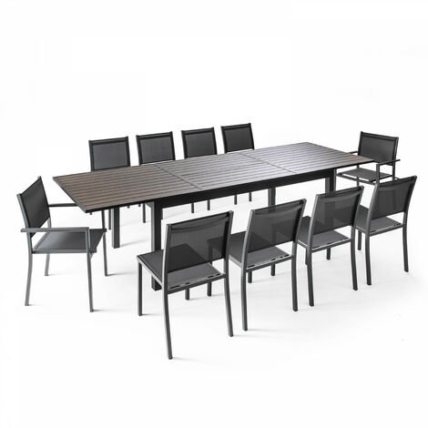 Table de jardin extensible 10 places en aluminium et polywood - Gris ...