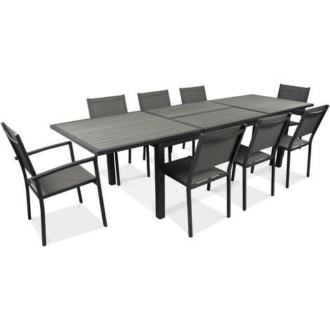 Table de jardin extensible 10 places en aluminium et polywood - Gris ...