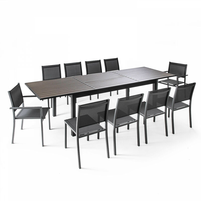 Table De Jardin Extensible 10 Places En Aluminium Et Polywood New