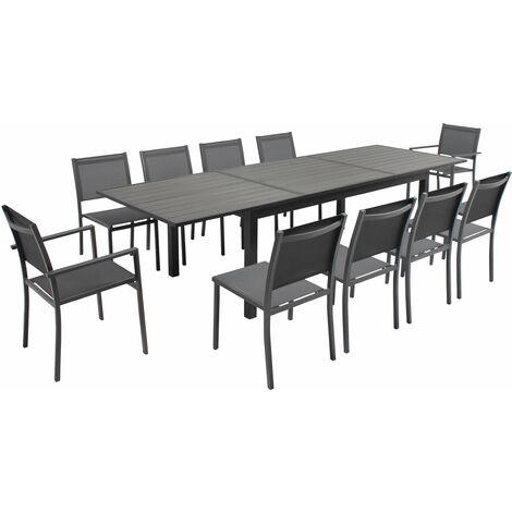 """main image of """"Table de jardin extensible 10 places en aluminium et polywood Nice - Marron - Gris"""""""