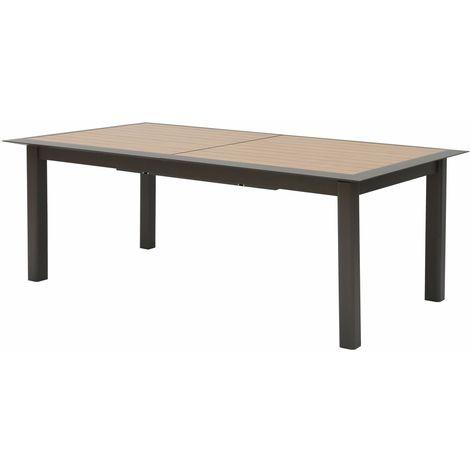 Table de jardin extensible 12 Personnes à lattes Allure - L. 216/316 cm - Gris et marron - Marron