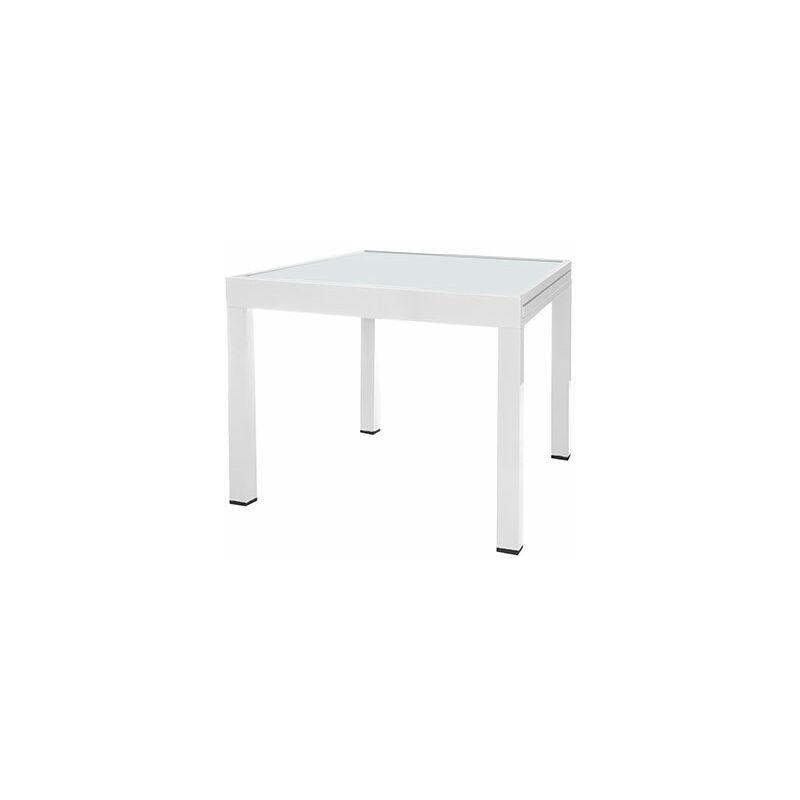 Table de jardin extensible 80 cm en verre et aluminium blanc - 1314554
