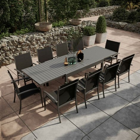 Table de jardin extensible aluminium 135/270cm + 10 ...