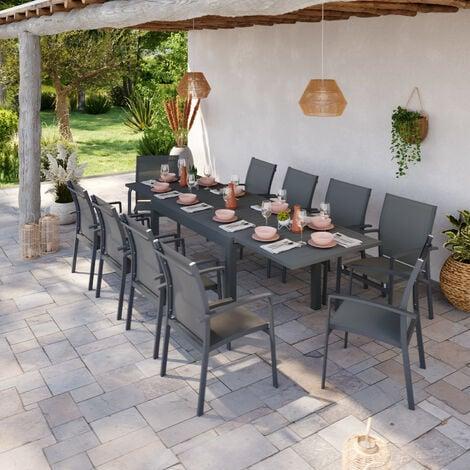 Table de jardin extensible aluminium 135/270cm + 10 Fauteuils ...