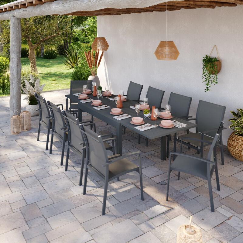 Table de jardin extensible aluminium 135/270cm + 10 Fauteuils empilables textilène Gris Anthracite - ANDRA - Gris anthracite