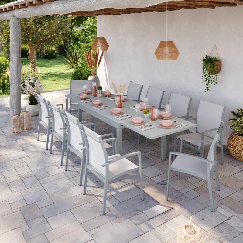 Table de jardin extensible aluminium 135/270cm + 10 fauteuils empilables textilène gris - ANDRA - Gris