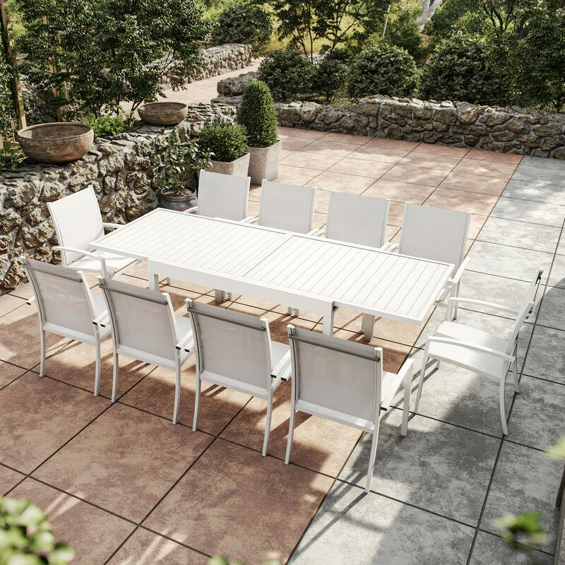 Table de jardin extensible aluminium 270cm + 10 fauteuils empilables textilène - blanc - ANDRA - Blanc