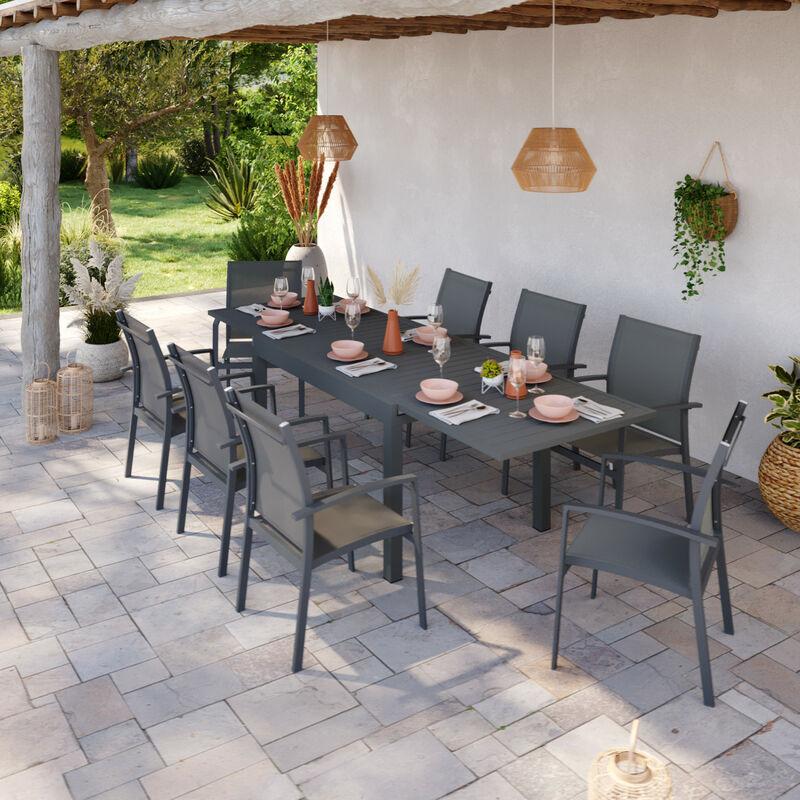 Table de jardin extensible aluminium 135/270cm + 8 fauteuils empilables textilène Gris Anthracite - ANDRA - Gris anthracite
