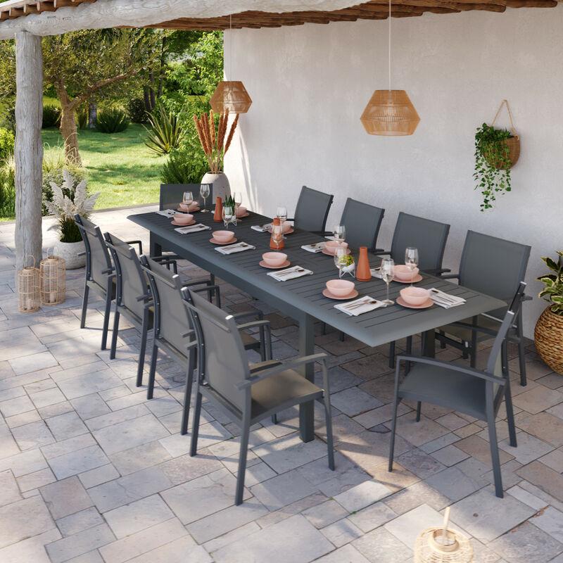 Table de jardin extensible aluminium 220/320cm + 10 Fauteuils empilables textilène Gris Anthracite - ANDRA XL - Gris anthracite