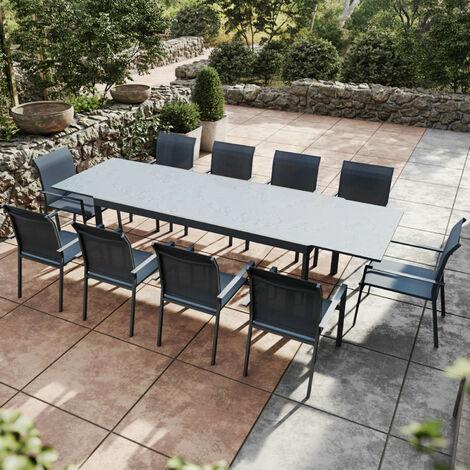 Table de jardin extensible aluminium anthracite 200/300cm + 10 fauteuils empilables textilène - ARONA - Anthracite