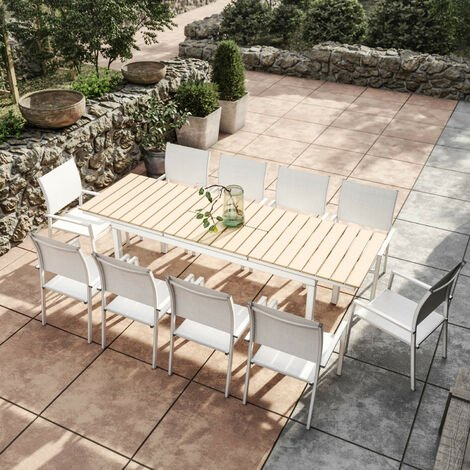Table de jardin extensible aluminium blanc 180/240cm + 10 ...