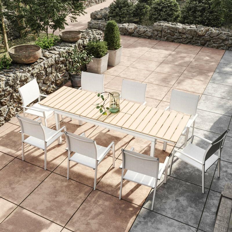 Table De Jardin Extensible Aluminium Blanc 180 240cm 8 Fauteuils Empilables Textilène Palma 8