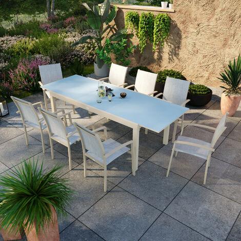 """main image of """"Table de jardin extensible aluminium anthracite 180/240cm + 8 fauteuils empilables textilène - ANIA - Anthracite"""""""