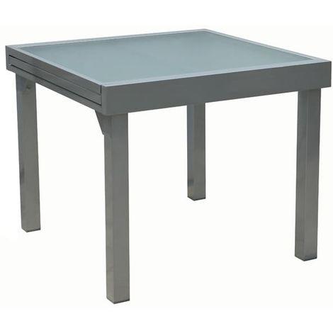 Table de jardin extensible aluminium et verre 90/180 x 90 x 75 cm