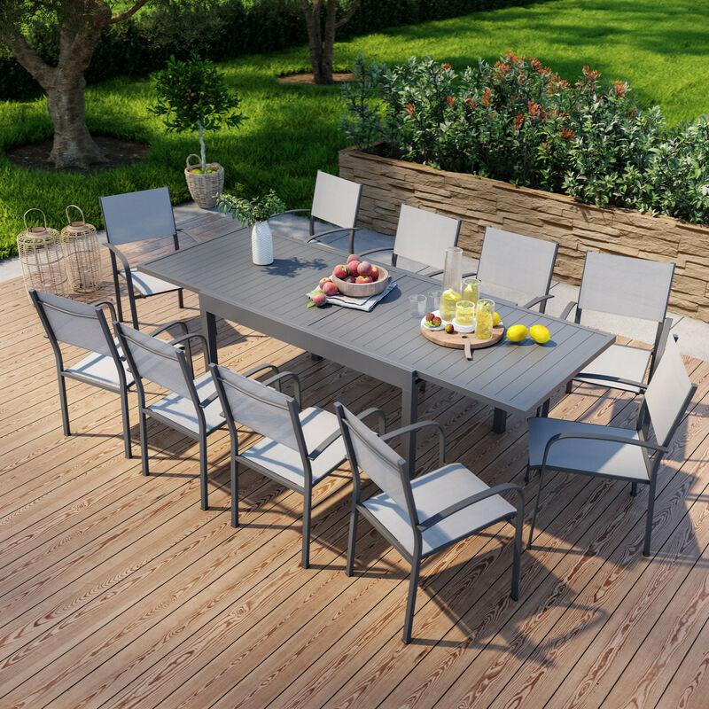 Table de jardin extensible en aluminium 270cm + 10 fauteuils empilables textilène anthracite gris - MILO 10 - Anthracite