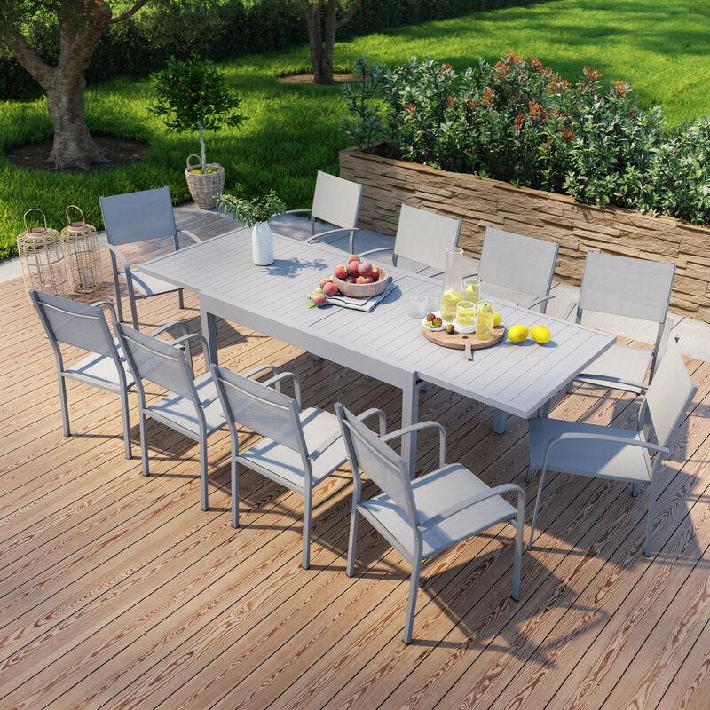 Table de jardin extensible en aluminium 270cm + 10 fauteuils empilables textilène gris - MILO 10 - Gris