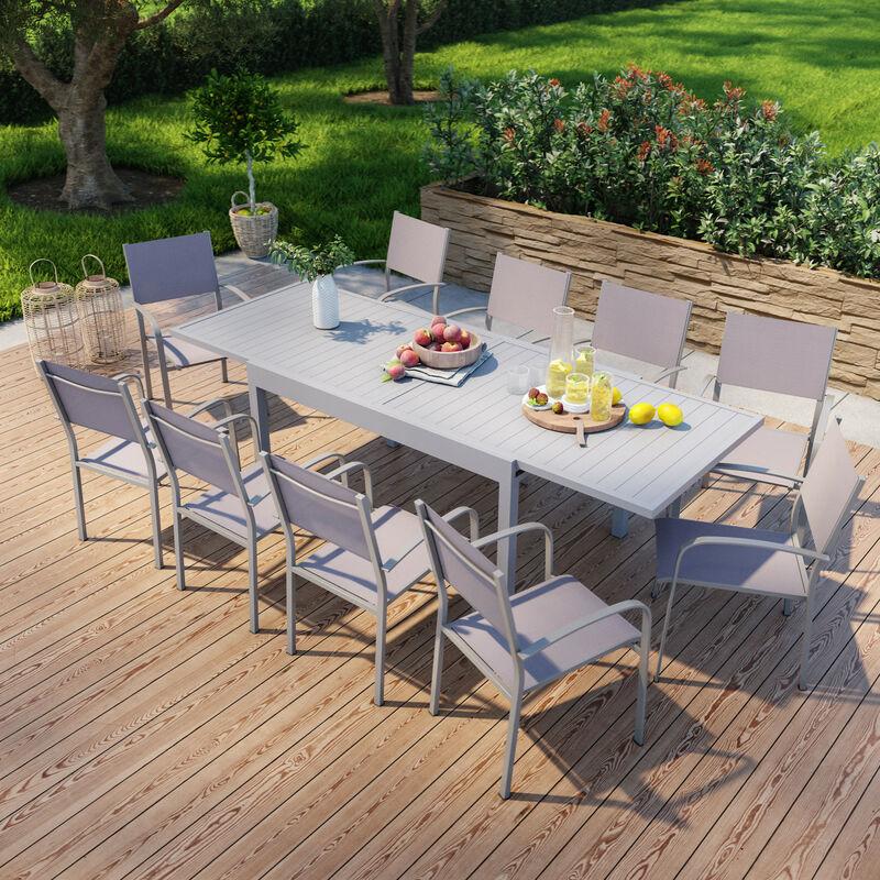 Table de jardin extensible en aluminium 270cm + 10 fauteuils empilables textilène gris taupe - MILO 10 - Gris