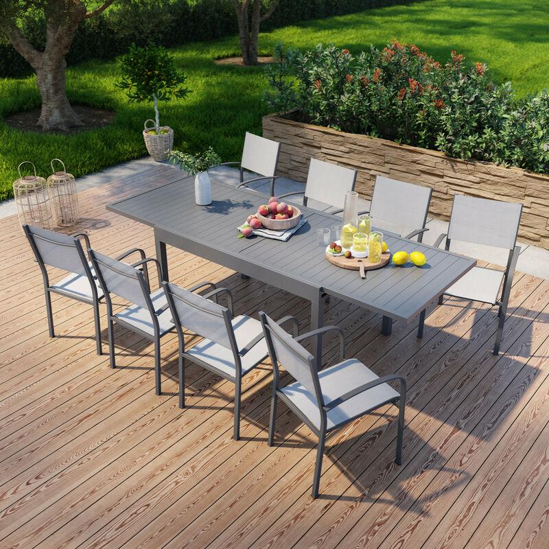 Table de jardin extensible en aluminium 270cm + 8 fauteuils empilables textilène anthracite gris - MILO 8 - Anthracite