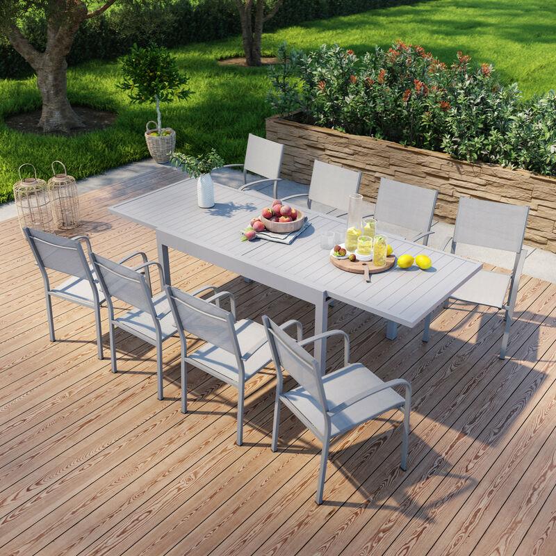 Table de jardin extensible en aluminium 270cm + 8 fauteuils empilables textilène gris - MILO 8 - Gris