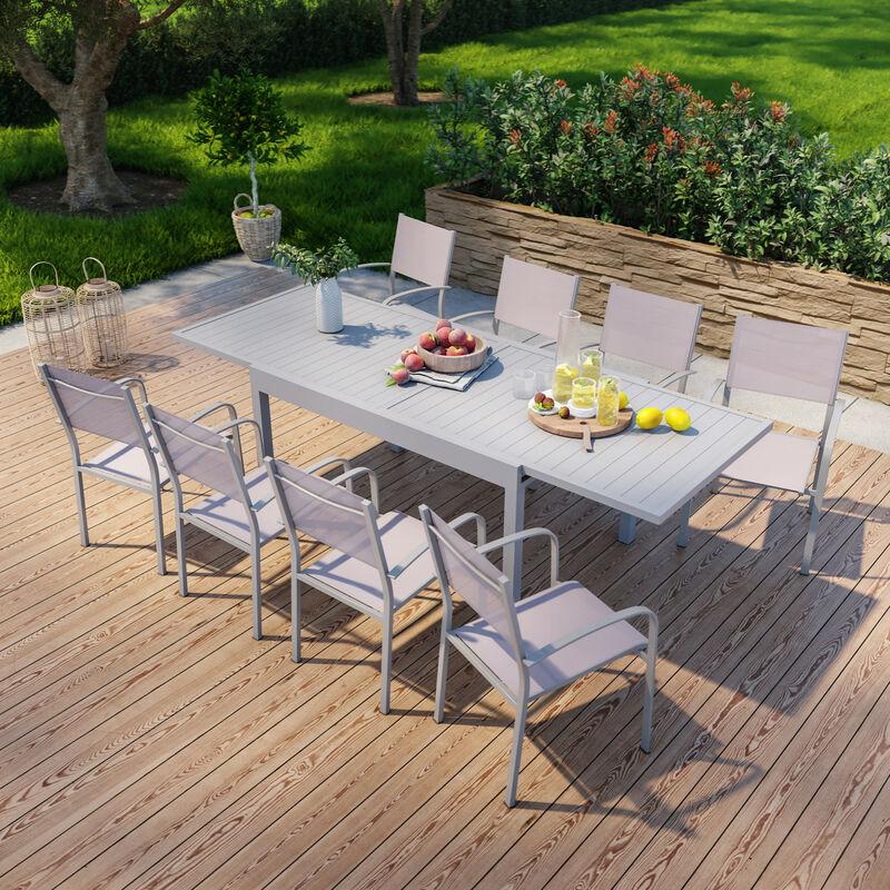 Table de jardin extensible en aluminium 270cm + 8 fauteuils empilables textilène gris taupe - MILO 8 - Grey