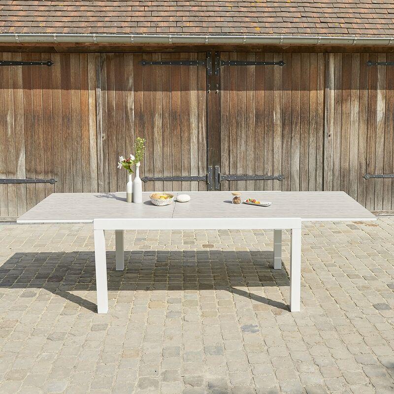 Bois Dessus Bois Dessous - Table de jardin extensible en aluminium 6/10 places - Blanc