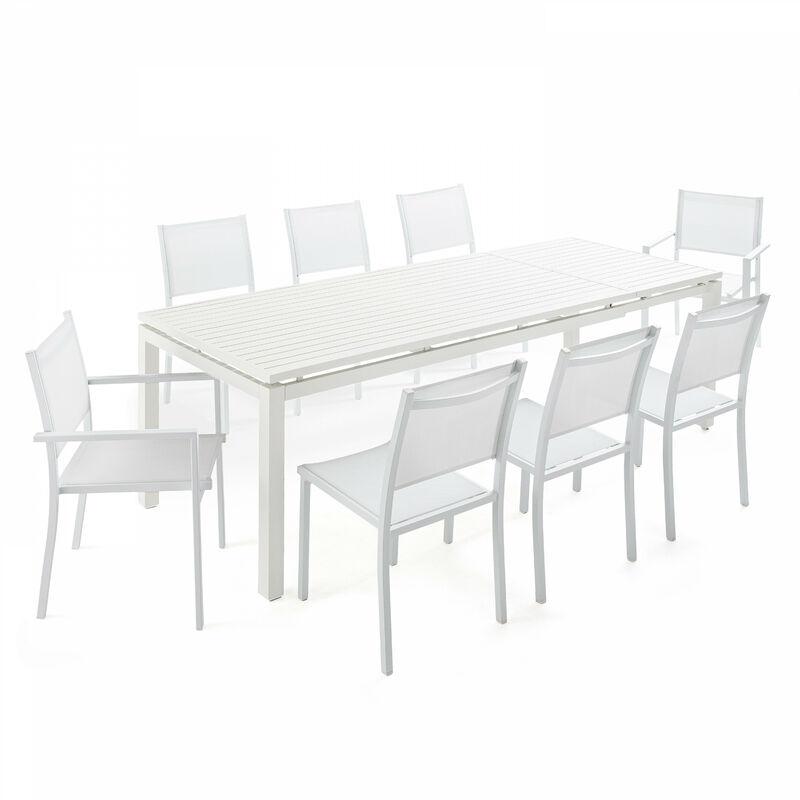 Table de jardin extensible en aluminium 8 personnes, 6 chaises, 2 fauteuils Galilée Galilée - Blanc - OVIALA