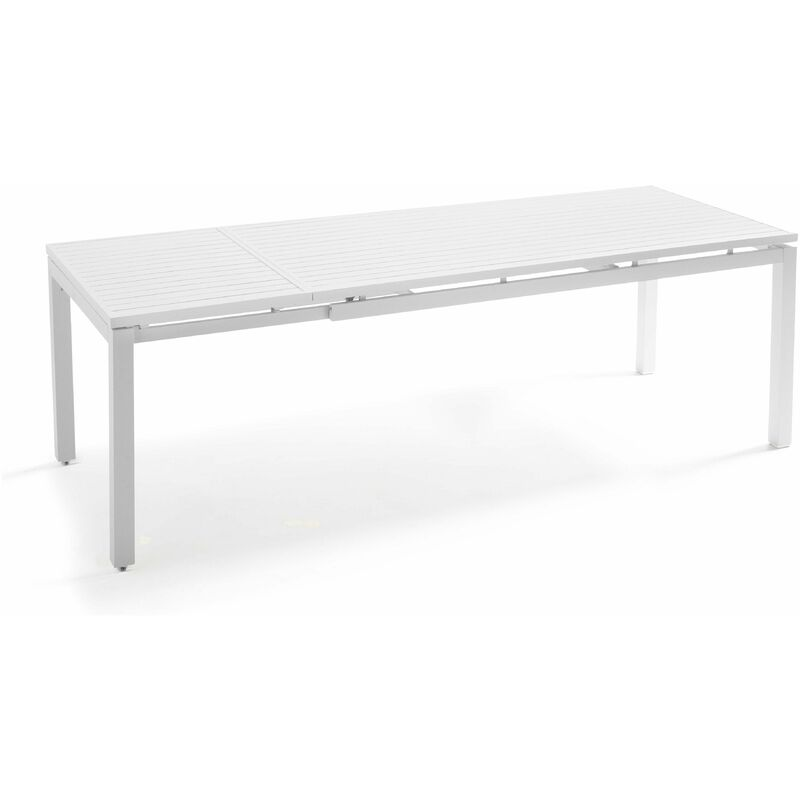 Table de jardin extensible en aluminium 8 personnes Galilée Galilée - Blanc - OVIALA