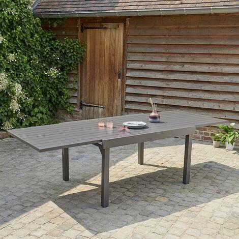 Table de jardin extensible en aluminium gris 6/10 places