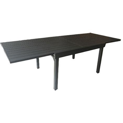 Table de jardin extensible en aluminium gris anthracite - Dim : H.76 x  L.230-200 x P.105 cm