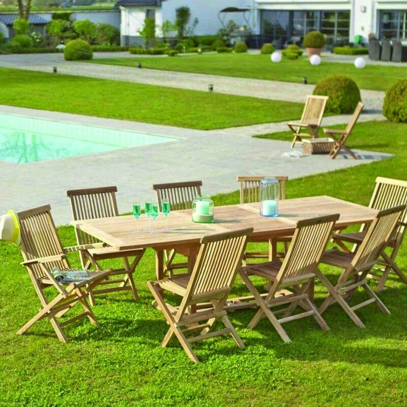 table de jardin extensible en teck avec rallonge 8 à 10