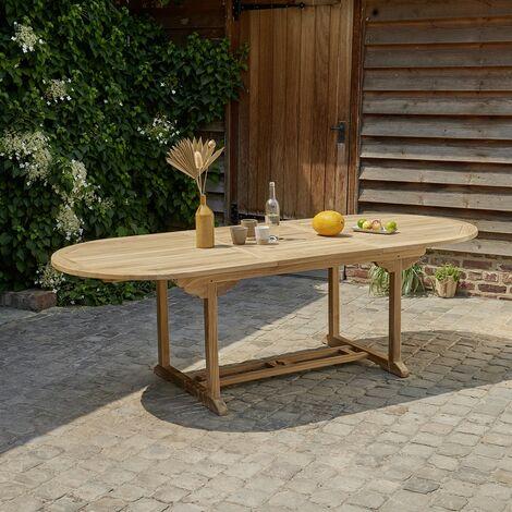 Table de jardin extensible en teck avec rallonge 8 à 10 places