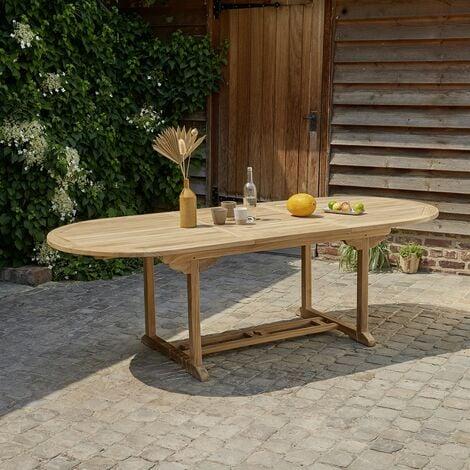 Table de jardin extensible en teck avec rallonge 8 à 10 places - Nature